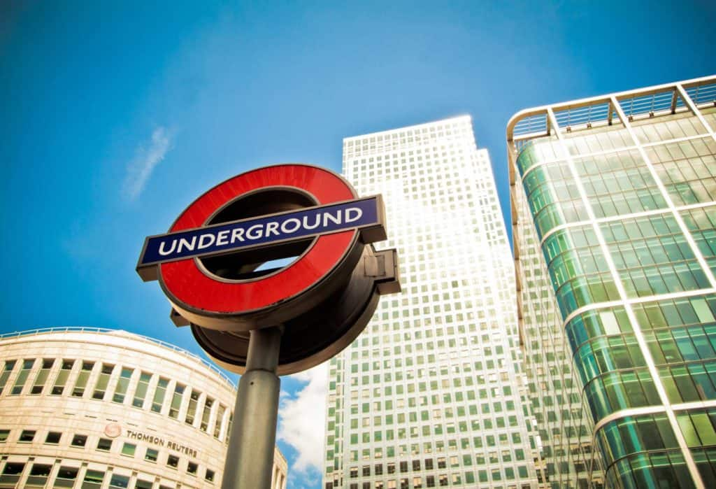 London Underground sign in Canary Wharf, London