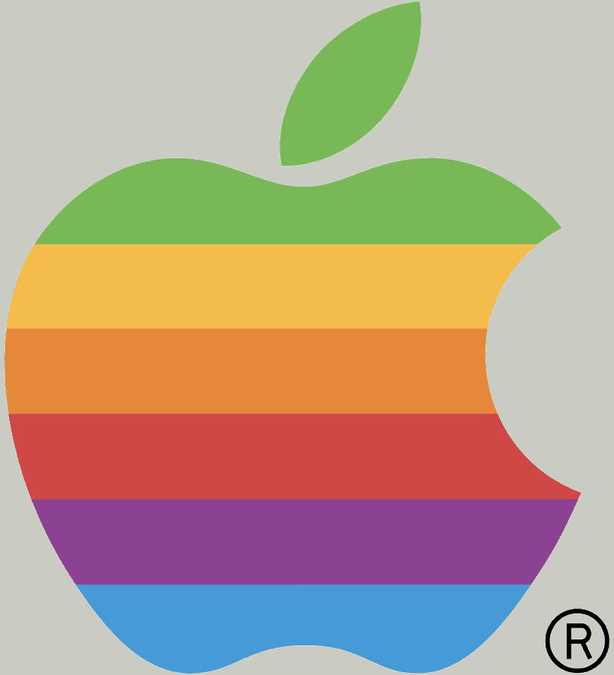 w rainbow logo, designed by Ronald Wayne in 1976