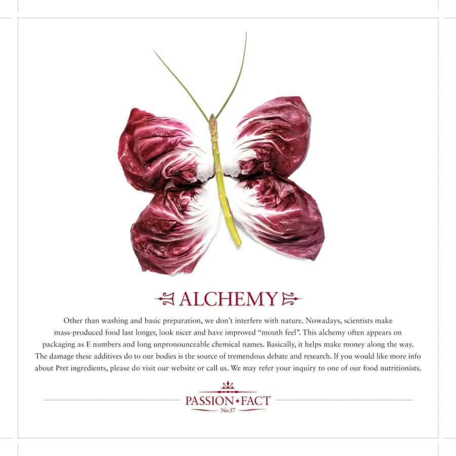 Pret A Manger advert with a butterfly made of lettuce leaves