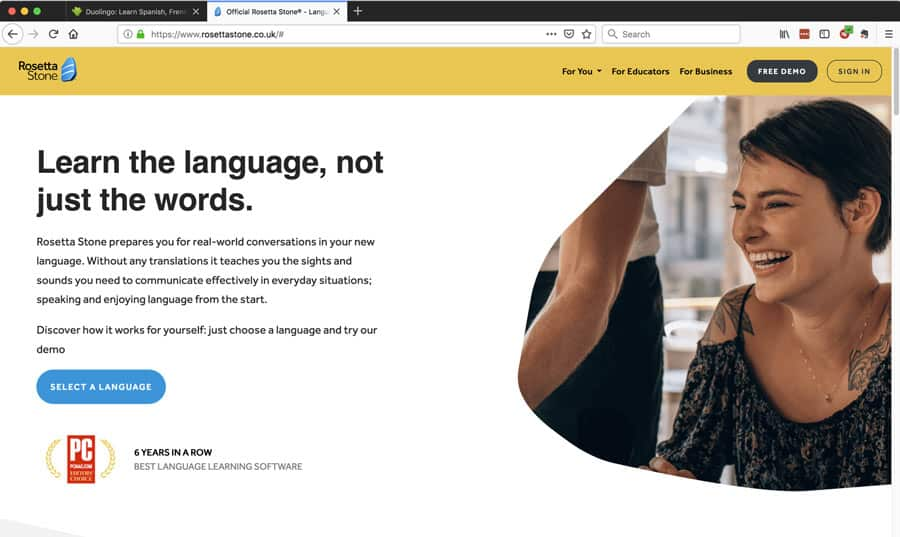 User experience design in the real world: the homepage of the Rosetta Stone language learning software.