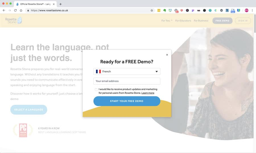 Screen asking for email address in return for a demo on the Rosetta Stone website