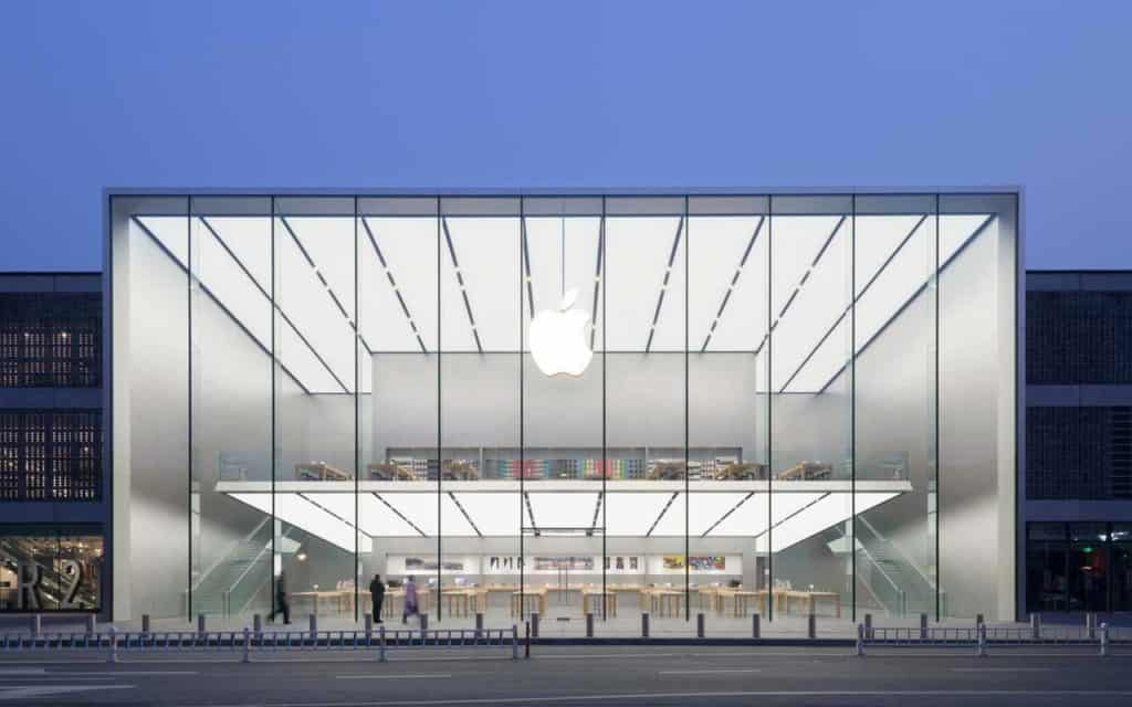 The glass front of a modern Apple store in West Lake.