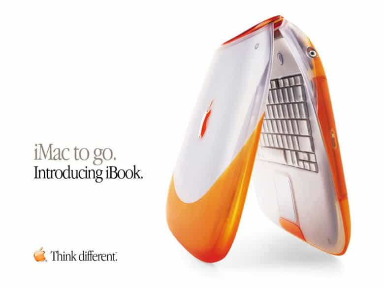 Advert for the orange iBook with a handle at the top.