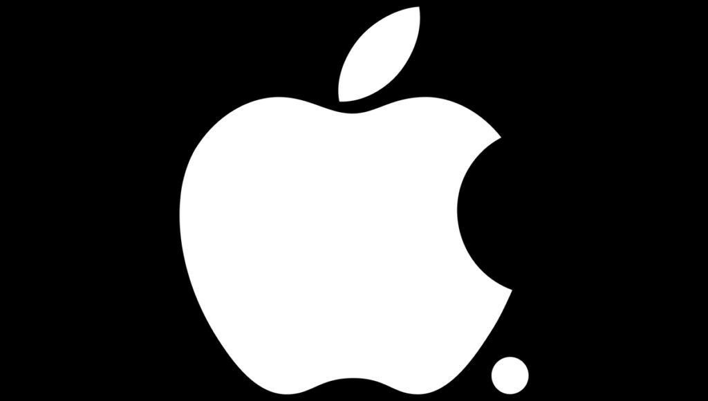 White Apple logo against black background