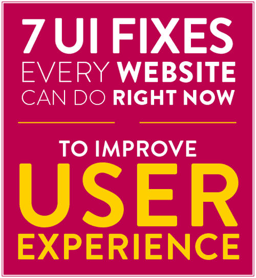 """Cover of the free download booklet """"7 UI fixes to improve user experience"""""""