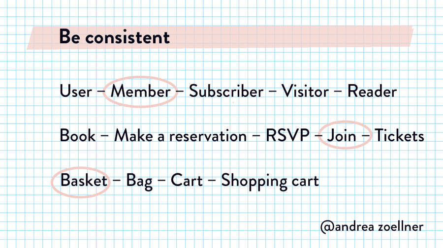 One of Andrea Zoellner's copywriting tips for better UX: be consistent when you choose a term.