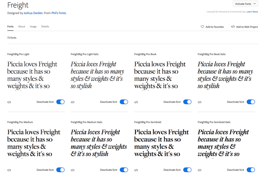 A sentence written in various font variations of the Freight typeface