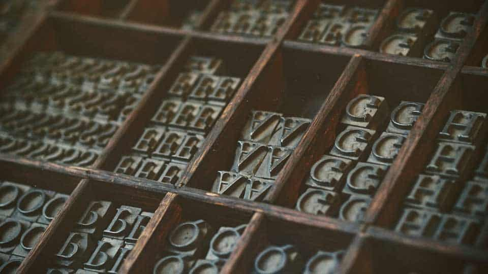Fonts in a drawer
